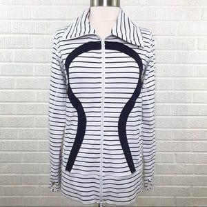 Lululemon Define Jacket Striped White Blue Size 12